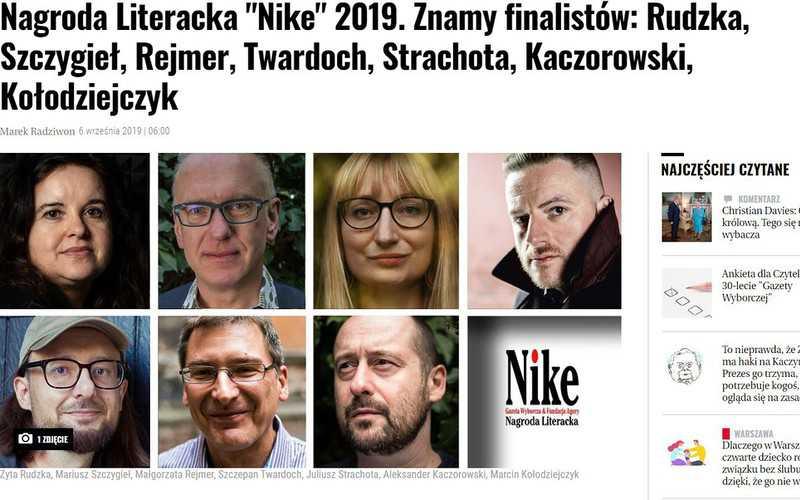 Ogłoszono finalistów Literackiej Nagrody NIKE