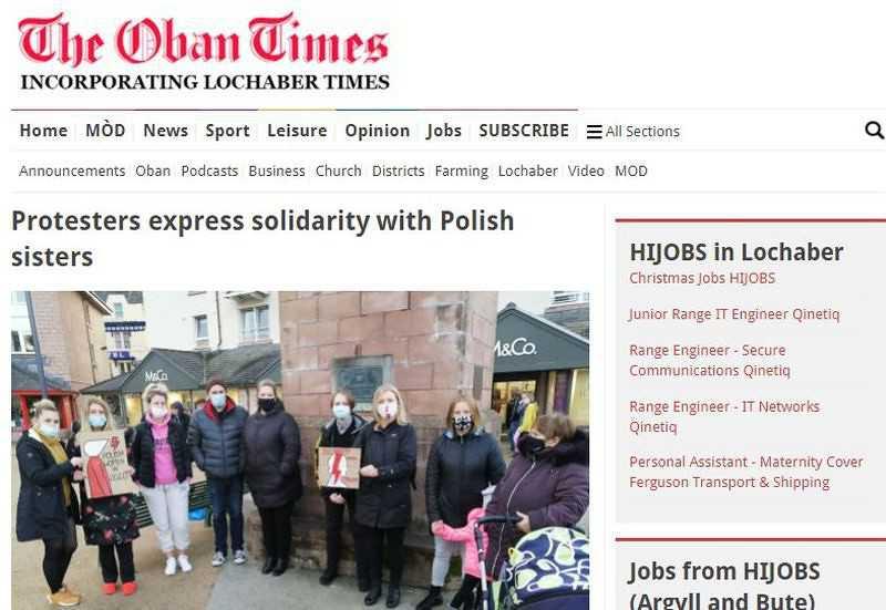 Demonstracje poparcia dla Polek dotarły nawet do małych miast w Szkocji