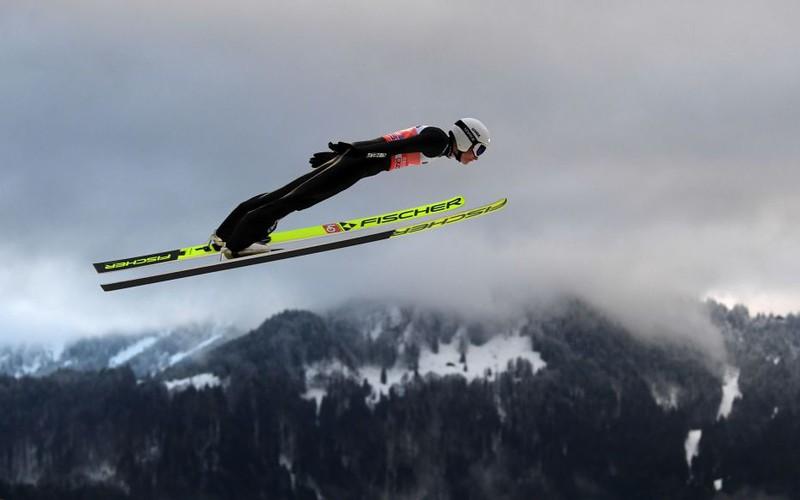 The closed border split the ski jumping hill in half