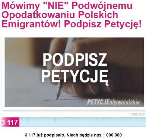 """""""Mówimy NIE podwójnemu opodatkowaniu polskich emigrantów"""""""